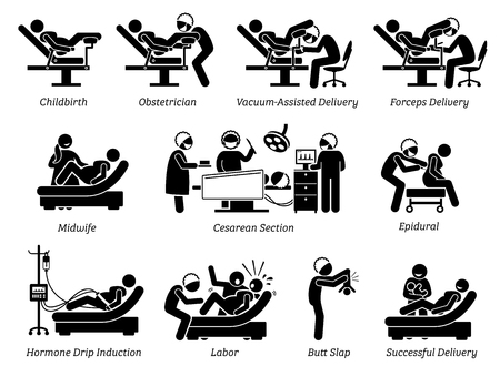 Ilustración de Childbirth at hospital. Ways to deliver baby at hospital by doctor or obstetrician. Methods are natural childbirth, vacuum assisted, forceps, and Cesarean. Illustration in stick figures pictogram. - Imagen libre de derechos