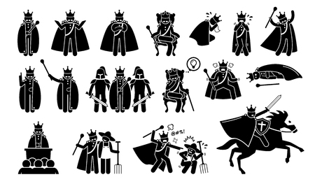 Illustrazione per King Characters in Pictogram Set. Artworks depicts a medieval king in different poses, emotions, feelings, and actions. The emperor is wearing a crown or throne and is a great ruler. - Immagini Royalty Free
