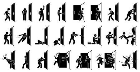Illustration for Man and Door Pictogram. Cliparts depict various actions of a man with a door. - Royalty Free Image