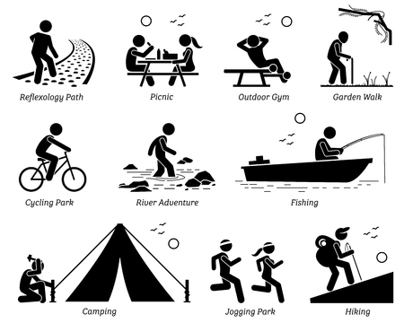 Illustration pour Outdoor Recreation Recreational Lifestyle and Activities. Pictogram depicts reflexology path, picnic, outdoor gym, garden walk, cycling park, river adventure, fishing, camping, jogging, and hiking. - image libre de droit