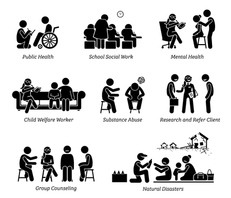 Ilustración de Social Workers Stick Figure Pictogram Icons. Illustrations depict social worker on public health, school, child welfare, substance abuse, research refer client, natural disaster and group counseling. - Imagen libre de derechos