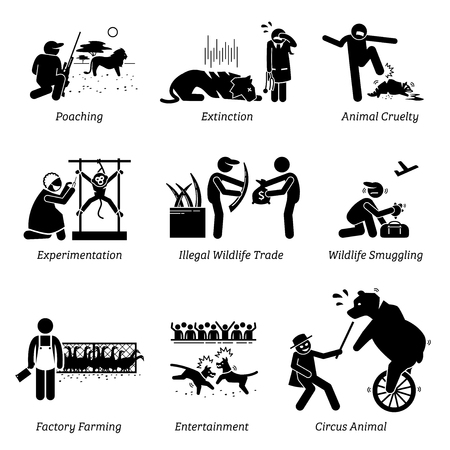 Foto de Animal Rights and Issues Stick Figure Pictogram Icons. Illustrations depicts poaching, extinction, animal cruelty, experimentation, illegal wildlife trade, factory farming, entertainment, and circus. - Imagen libre de derechos