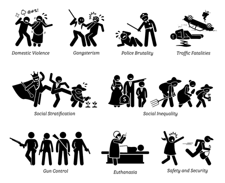 Illustrazione per Social Problems and Critical Issues Stick Figure Pictogram Icons. Illustrations depicts domestic violence, gangster, police brutality, social inequality, gun control, euthanasia, safety and security. - Immagini Royalty Free
