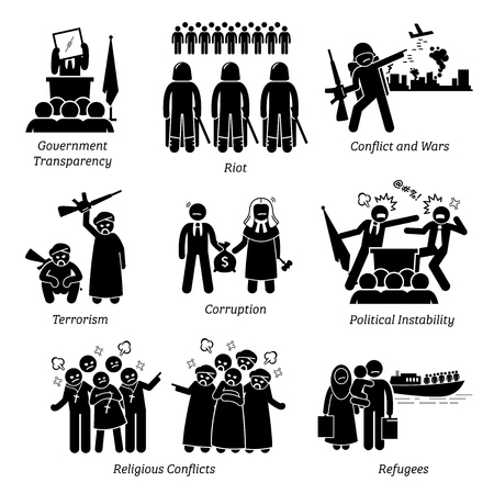 Illustrazione per Social Issues World Problems Pictogram Icons. Illustrations depicts government transparency, riot, civil war, conflict, terrorism, corruption, political instability, religious conflicts, and refugee. - Immagini Royalty Free