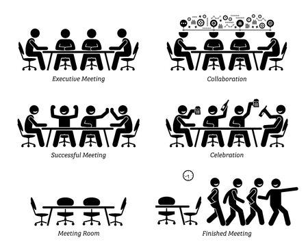 Ilustración de Executives having effective and efficient meeting and discussion. The businessmen have good collaboration, a successful meeting, and celebration. They finished the meeting earlier than expected. - Imagen libre de derechos