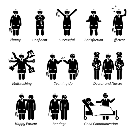 Illustration pour Happy and Cheerful Doctor. Stick figure pictogram depicts a doctor that is feeling confident, successful, and satisfied. The doctor can do multitasking and love his work job at the clinic and hospital - image libre de droit