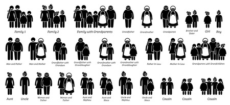 Photo pour Family, Relatives and Relationships Big Icon Set. Stick figure depicts all family relationship that has grandfather, grandmother, children, cousin, uncle, aunt, niece, nephew, and grandchildren. - image libre de droit