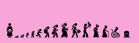 Ilustración de Female life cycle and aging process. Girl or woman growing up from baby to old age. - Imagen libre de derechos