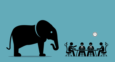 Ilustración de Elephant in the room. Vector artwork illustration depicts the concept of obvious problem, avoiding difficult situation, and evading unpleasant scenario. - Imagen libre de derechos