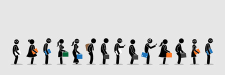 Illustrazione per Job seekers or office workers and employee queuing up in a line. Vector artwork depicts the concept of job interview and office lifestyle. - Immagini Royalty Free