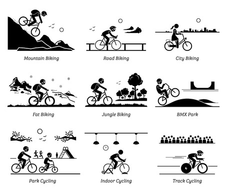 Illustration pour Cyclist cycling and riding bicycle in different places. Pictograms depict biking at mountain, road, city, ice, jungle, BMX, park, indoor, and track. - image libre de droit