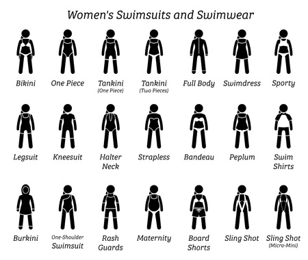 Ilustración de Women swimsuits and swimwear. Stick figures depict different types of swimming suits fashion wear by woman, lady, girl, or female. - Imagen libre de derechos