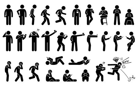 Illustration pour Man using, holding, and carrying phone or smartphone in different basic position and postures. Stick figures depict a set of human with a cellphone. - image libre de droit