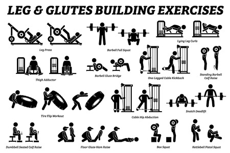 Ilustración de Legs and glutes building exercise and muscle building stick figure pictograms. Artworks depict set of weight training reps workout for legs and glutes by gym machine tools with instructions and steps. - Imagen libre de derechos
