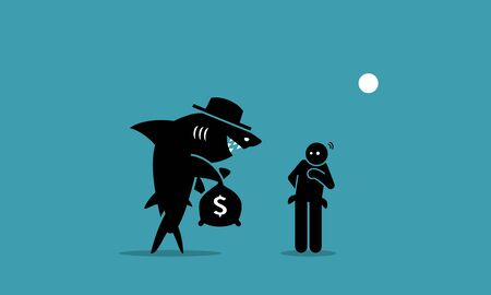 Ilustración de Loan shark and a poor man. Vector artwork depicts a loan shark trying to lend money to a person that has financial difficulties. The man is hesitated and unsure if he want to borrow the money.  - Imagen libre de derechos