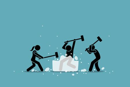 Illustration pour Ice breaking or icebreaker activity, game and event. Vector artwork of a group of people using sledgehammer to break a large ice. Concept of knowing each member and warm up for participants meeting. - image libre de droit