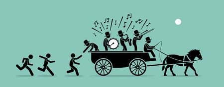 Illustration pour Jump on the bandwagon. Vector artwork concept depicts people and followers chasing, joining, and jumping into a bandwagon because it is popular, famous, and trendy.  - image libre de droit