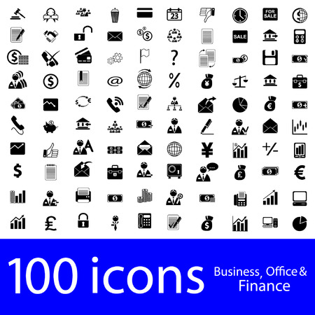 100 icons Business, Office & Finance