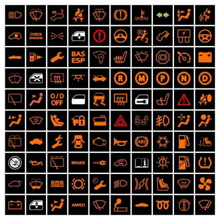 Illustration pour Car Dashboard Icons. Vector illustration. - image libre de droit