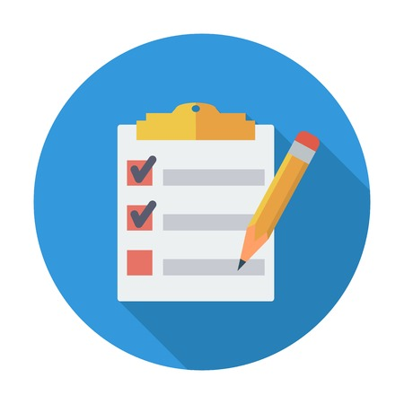 Illustration pour Clipboard with pen. Single flat color icon. Vector illustration. - image libre de droit