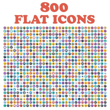 Illustration for Set of 800 flat icons, for web, internet, mobile apps, interface design: business, finance, shopping, communication, fitness, computer, media, transportation, travel, easter, christmas, summer, device - Royalty Free Image