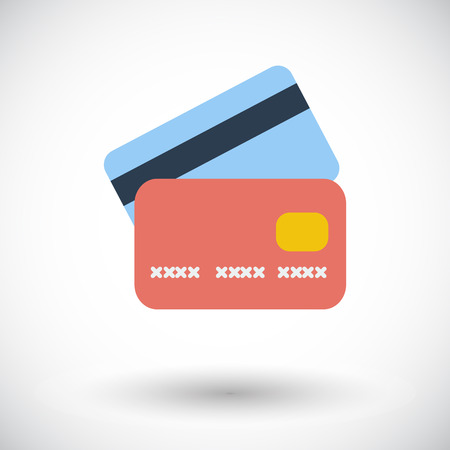 Illustration pour Credit card. Single flat icon on white background.  - image libre de droit