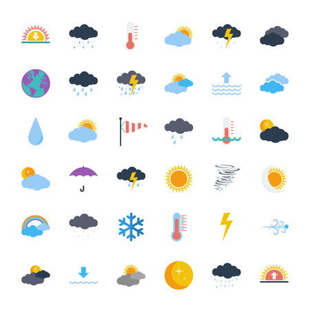 Illustration pour Weather icons set. Flat vector related icons set for web and mobile applications. It can be used as - logo, pictogram, icon, infographic element. Vector Illustration. - image libre de droit