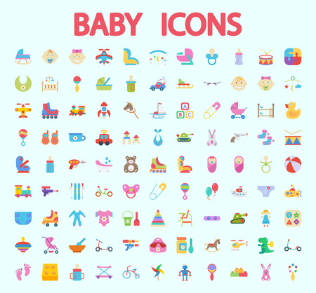 Ilustración de Baby icons set. Flat vector related icon set for web and mobile applications. It can be used as, pictogram, icon, infographic element. Vector Illustration. - Imagen libre de derechos