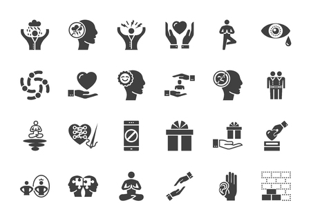 Illustrazione per Conscious living and friends relations. Glyph related icons set on white background. Simple black pictogram pack vector icon concept for web. - Immagini Royalty Free