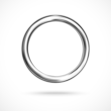 Illustration for Silver ring copyspace torus round vector empty frame   - Royalty Free Image