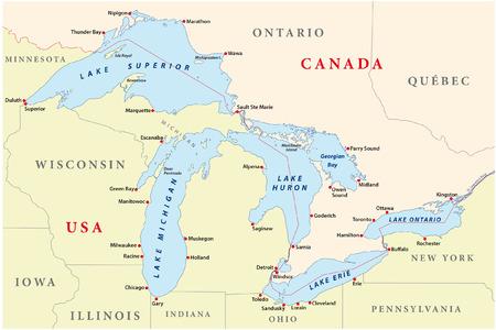 Ilustración de map of great lakes - Imagen libre de derechos