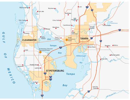 Illustration pour tampa bay area map - image libre de droit