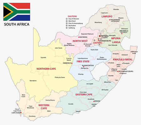 Illustration for south africa administrative map with flag - Royalty Free Image