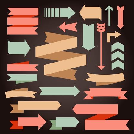 Ilustración de set of vintage arrows and ribbons, vector illustration - Imagen libre de derechos