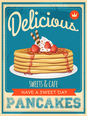 Photo for vector vintage styled pancakes poster - Royalty Free Image