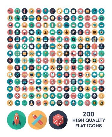 Illustration pour set of 200 high quality vector flat icons - image libre de droit