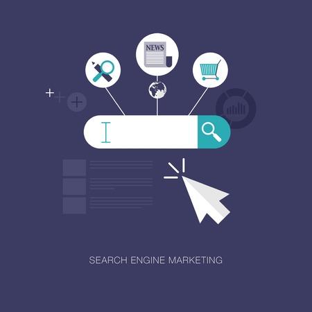 Illustration pour vector modern search engine marketing concept illustration - image libre de droit