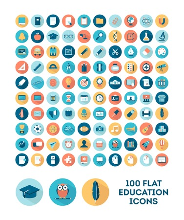 Foto de set of 100 flat style education icons, illustration - Imagen libre de derechos