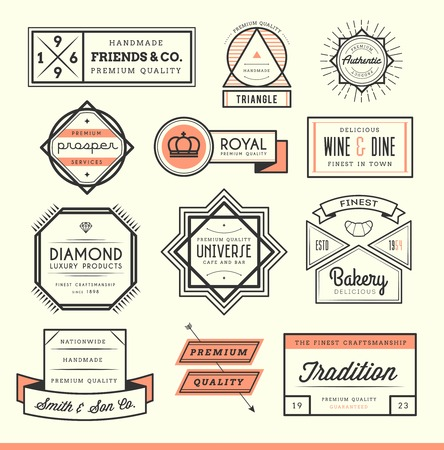 Ilustración de set of vintage icon, badges and labels, illustration - Imagen libre de derechos