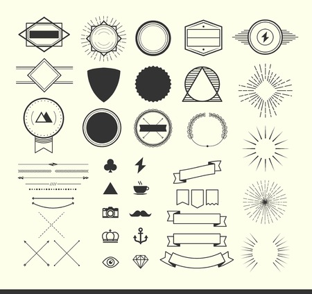 Illustration pour set of vintage elements for making icon, badges and labels. - image libre de droit