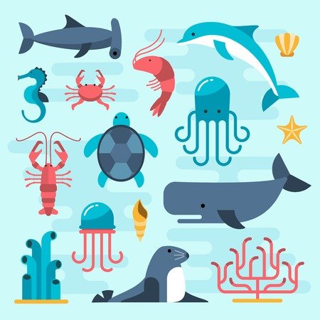 Illustration for set of beautiful flat sea life, vector illustration - Royalty Free Image