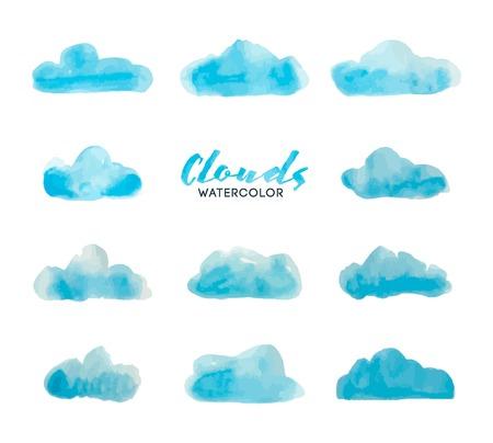 Illustration pour set of watercolor hand painted clouds, vector illustration - image libre de droit