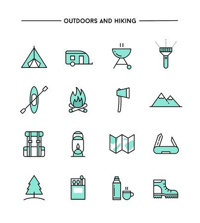 Illustration pour set of flat design, thin line hiking and outdoors icons, vector illustration - image libre de droit