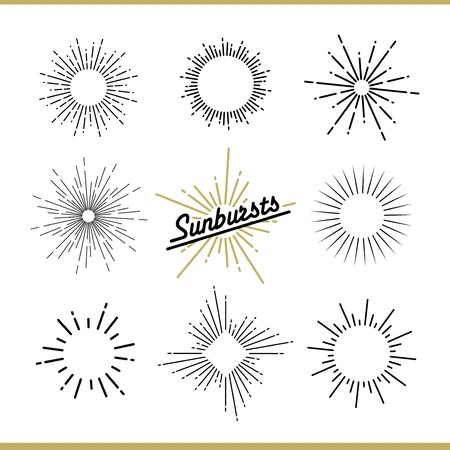 Ilustración de Set of sunburst design elements for badges, logos and labels. Vector illustration - Imagen libre de derechos