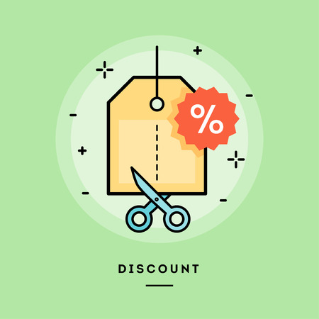 Illustration pour Concept of discount, line flat design banner, vector illustration - image libre de droit