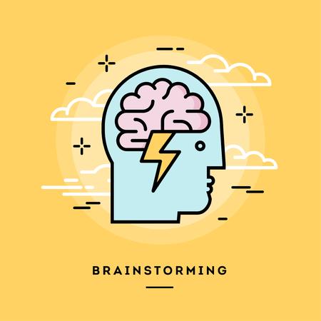 Illustration pour Concept of brainstorming, line flat design banner, vector illustration - image libre de droit