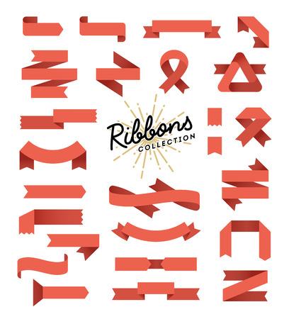 Illustration pour Set of variously shaped ribbon banners, flat design, vector illustration - image libre de droit