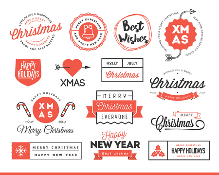 Set of beautiful Christmas themed labels, badges, vector illustration