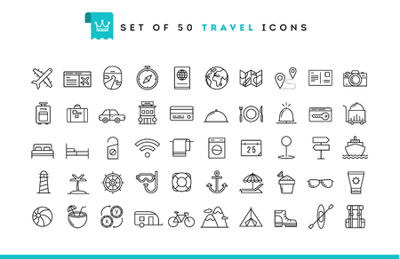 Illustration for Set of 50 travel icons, thin line style, vector illustration - Royalty Free Image