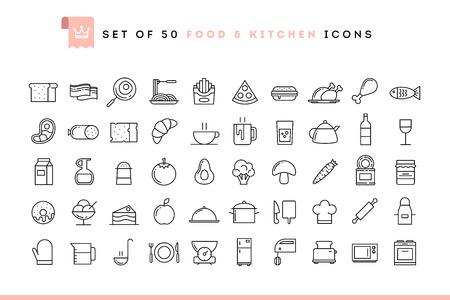 Illustration pour Set of 50 food and kitchen icons, thin line style, vector illustration - image libre de droit